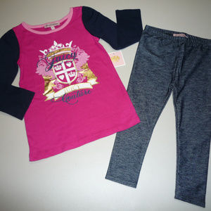Juicy Couture Girls Blue/Pink 2pc Jeggings Set